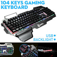 104-Key RGB Gaming Mechanical Keyboard Membrane Keys Led Backlit Computer US