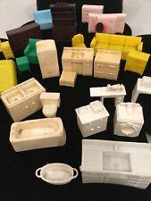New ListingLot of 25 Vintage Marx Dollhouse Plastic Furniture - Kitchen, Bedroom, Bathroom