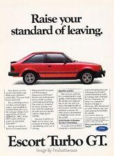 1985 Ford Escort GT - Original Advertisement Print Art Car Ad J646
