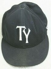 New Era TY Black White 7 1/8 Fitted Baseball Hat Cap Polyester Made In USA 56.8