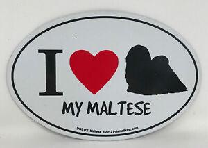 I Love My Maltese Dog On Duty Magnet Laminated Car Pet 6x4 New Heart