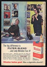 1960 WINSTON CIGARETTE AD~RECORD STORE OR RADIO DISC JOCKEY~TURNTABLE~PLAYER