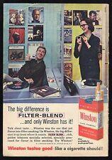 1960 WINSTON CIGARETTE AD~RECORD STORE OR RADIO DISC JOCKEY~TURNTABLE~PLAYER