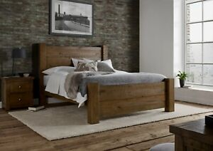 Time4Sleep Solid Wood Rustic Chunky King Size 5ft Plank Bed Frame Oak Finish