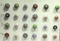 24 Pc Ceramic Knob Vintage Cabinet Drawer Handle Pull Cupboard Lot PAG 277