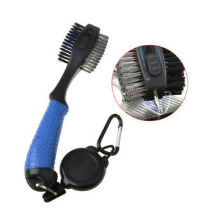 1x Golf Club Cleaning Brush & Groove Cleaner With Carabiner Retractable Zip Line