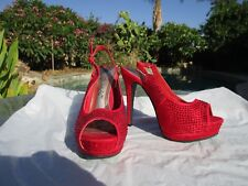 NEW sexy stiletto heels platform shoes size 6 1/2 red bling sparkle! rhinestone