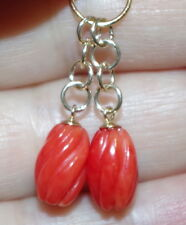VINTAGE 14K  9CT UNDYED OX RED BLOOD CORAL SWIRL  DROP  EARRINGS  JACKETS AA