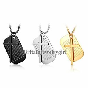 """Stainless Steel Military Dog Tag Cross Lords Prayer Pendant Necklace for Men 24"""""""