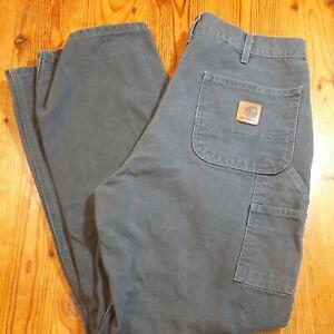 Carhartt Mens Duck Canvas Work Carpenter Pants Mexico B11 Brown Size 35x32 EUC