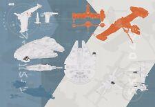 Innenraum Wände TAPETE FOTO WANDBILD in Giant Größe Star Wars technisch Plan