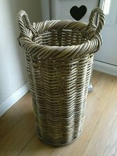 Grey Rattan Umbrella Hollway Storage Basket Stand Holder