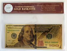 $100 Dollar Bill...Banknote.. 24K Gold 3D Overlay... With COA