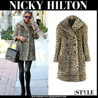 BNWT TOPSHOP SIZE 10-12 FAUX FUR LEOPARD ANIMAL PRINT COAT WOMENS LADIES JACKET