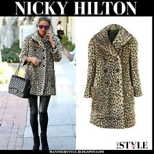 BNWT TOPSHOP UK SIZE 6 FAUX FUR LEOPARD ANIMAL PRINT COAT WOMENS LADIES JACKET