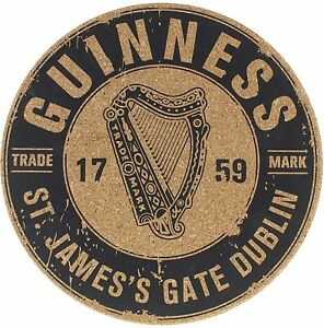 Guinness Harp Logo cork backed round place mat 190mm diameter