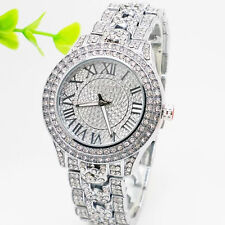 Silver Women Diamonds Luxury Bling Crystal Rhinestone Quartz Analog Wrist Watch