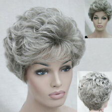 Fashion Ladies Wigs Women's short Silver Grey Curly Natural Hair wig