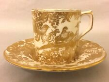 "Royal Crown Derby Porcelain Coffee Cup and Saucer ""GOLD AVES"""