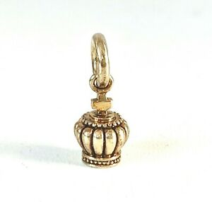Designer STORY Solid Sterling Silver Gold Plate CROWN Charm