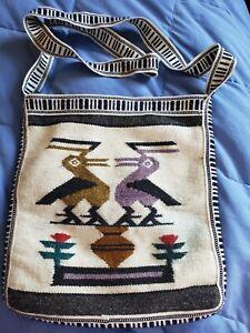 Boho/Hippie 100% Wool Cross Body purse. Hand Woven Textile from Ecuador