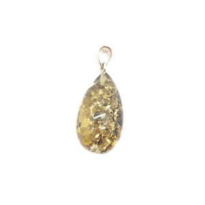 Natural Baltic amber pendant Drop Green Glitters Color with sterling silver 925