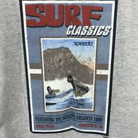 Speedo Graphic Tee Surf Classics Mens Large Gray Cotton Short Sleeve T-Shirt L