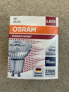 Osram Parathom PAR16 GU10 2700k 4.3w 50w Warm White 2700k 36 Degree