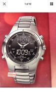 Pulsar Men's Dual Time  Digital & Analogue Stainless Steel Bracelet Watch