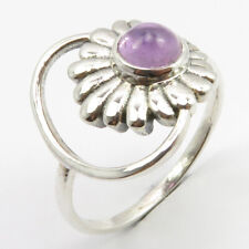 9 Sterling Silver Ladies Fashion Purple Round Cabochon Amethyst Ring Size