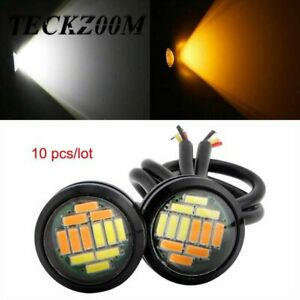 10pcs 4014SMD Dual Color LEDS White/Amber Eagle Eye LED DRL Turn Lights Car ht1