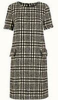 M&S Collection Tweed Black/White Check Shift Mini Dress Size 18 BNWT RRP £69