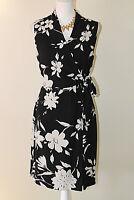 JONES WEAR DRESS 10 Black Tan Floral Sleeveless Sheath Career Dress w/ Side Tie