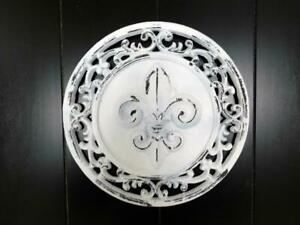 Round Fleur de Lis Wall Plaque - Metal Wall Art - Shabby Chic White Farmhouse