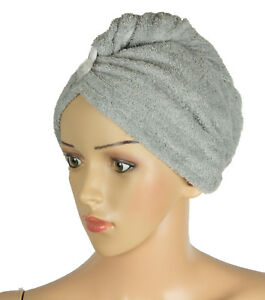 Hair Towel Wrap Gray 100% Cotton Super Absorbent Twist With Non Slip Loop