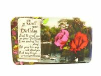 Antique real photograph postcard Birthday Card Swans on a lake pretty roses