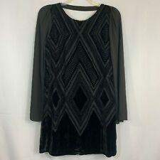 Express Womens Dress Knee Length Open Back Black Geometric Velour Size L