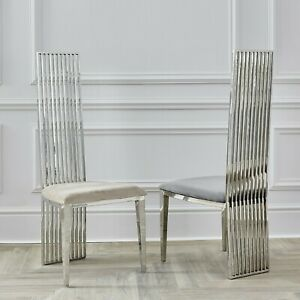 Luxury Chrome Back Dining / Kitchen Chairs With Cream Oyster Velvet Seat Pad