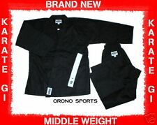 BLACK Middle Weight Karate Uniform Gi Size 1 BRAND NEW