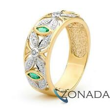 Emerald and Brilliant Diamond 9ct 9k Solid Yellow Gold Deco Ring Size P 7.75