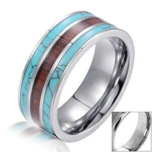 8mm Men's Tungsten Ring Hawaiian Koa Wood & Turquoise Band Ring - Engravable
