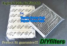 COMBO SET Engine&CARBONIED CABIN Air Filter for 07-15 Camry & 09-15 Venza 4cyl