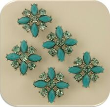 2 Hole Beads Flowers X's Turquoise Aqua Swarovski Crystal Elements Sliders QTY 5