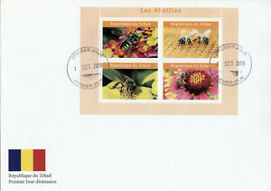 Chad 2019 FDC Bees Bee 4v M/S I Abeilles Insects Stamps