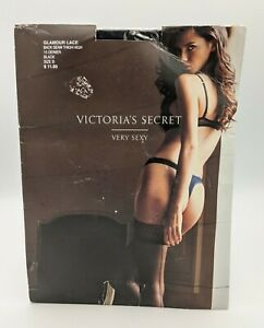 Victoria's Secret Very Sexy Glamour Lace Top Thigh High Stockings Black Size B
