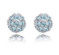 Azul Pendientes de Bola de Cristal Swarovski Elements Shamballa Estilo Jewellery UK