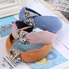 Ladies Tie Headband Knot Hairband Jewelled Wide Hair Band Accessories Prom Party