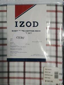 """ IZOD ""  CARTER PLAID QUEEN SIZE SHEET SET ""Easy Care Cotton Rich"""