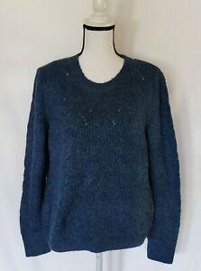 DKNY JEANS Women's Open Knit Sweater Soft & Cozy Blue Size XL NWT