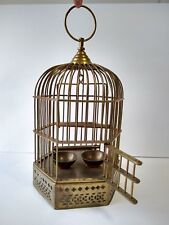 """Vtg Hanging Brass Bird Cage Swing Perch Pet Feeder Bowls Total Tall 15"""" w/ ring"""
